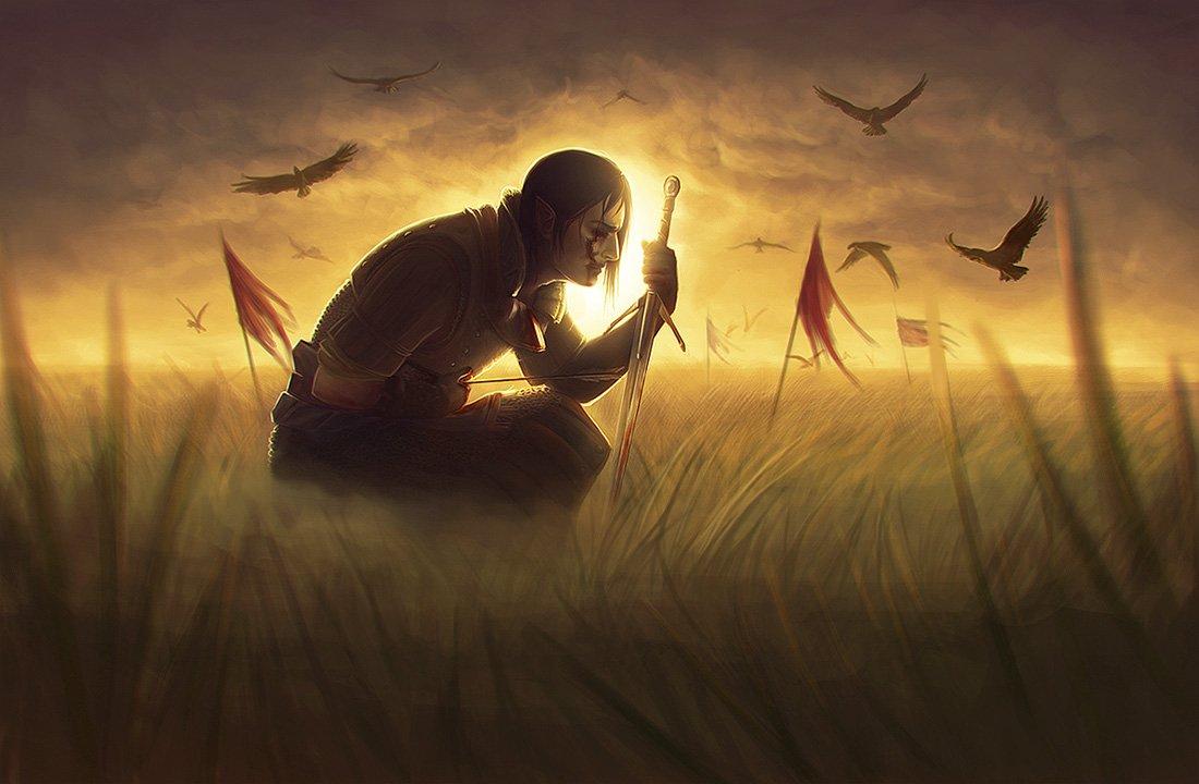 """Капелька старых игровых фанартов личного исполнения, Ведьмак 2 и Dishonored (по Ведьмаку очень вольное видение """"а чт ... - Изображение 1"""