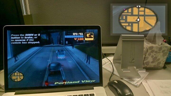 Для #GoogleGlass уже сделали карту #GTA III - теперь не нужно смотреть в угол экрана, она отображается в этих очках  - Изображение 1