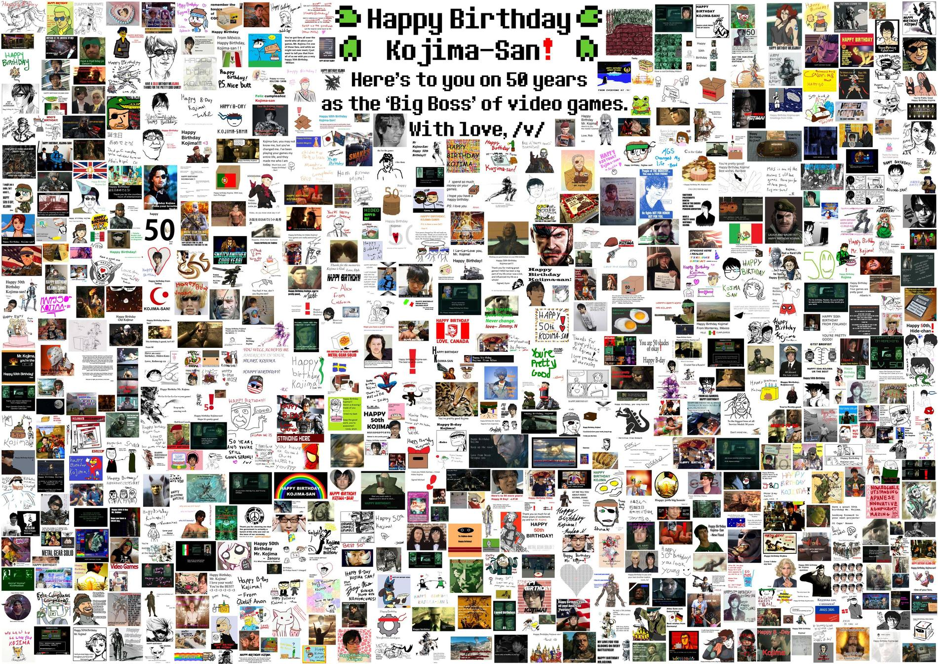 Кодзиме сегодня 50, поздравим его   Имиджбоард 4chan послал специальную поздравительную открытку для Хидео Кодзима - Изображение 1