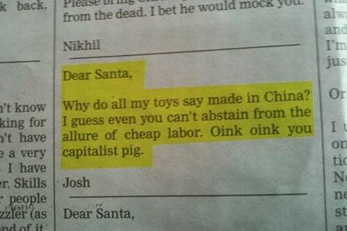 Вот так рушится детство...  Перевод:  Дорогой Санта,  Почему на всех моих игрушках написано, что они сделаны в Китае ... - Изображение 1