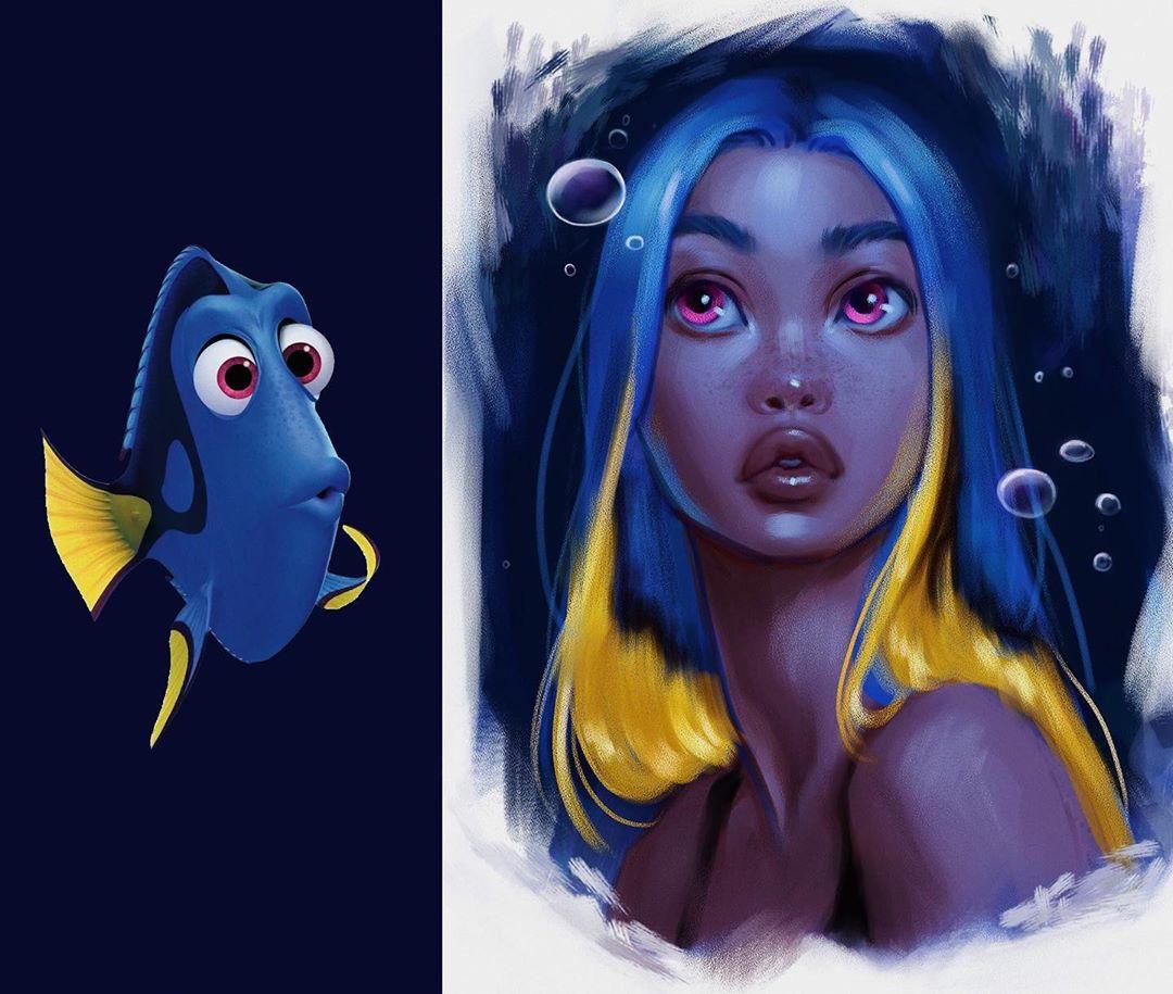 Еслибы Дори была девушкой: художница превращает животных измультфильмов влюдей