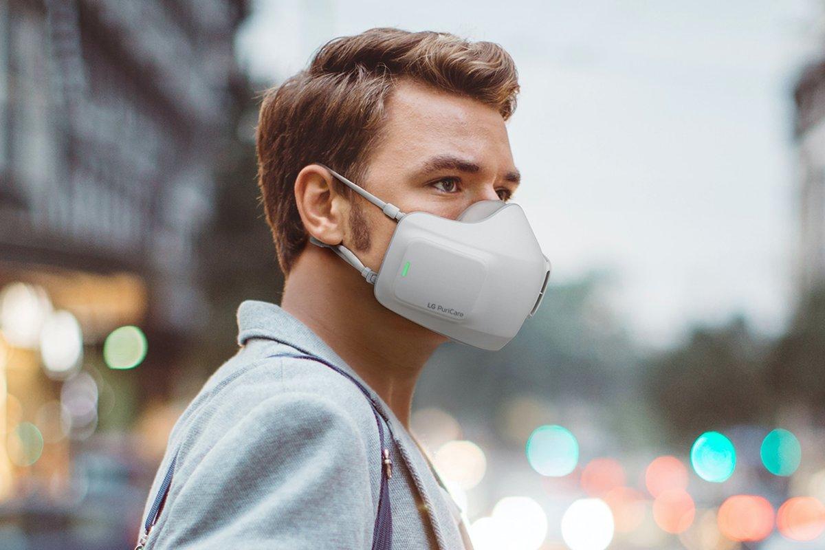 LGанонсирова многоразовую маску PuriCare Wearable Air Purifier саккумулятором исменными фильтрами