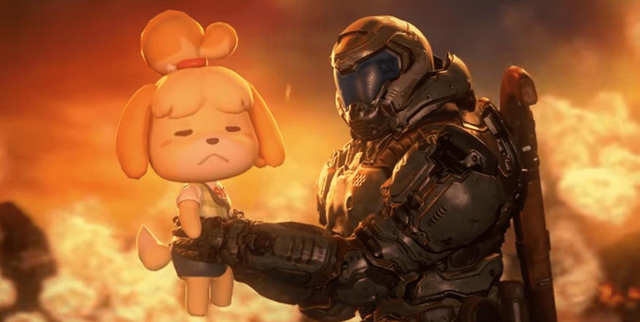 Что Изабель делает ваду? Всети появился милый кроссовер Animal Crossing иDoom