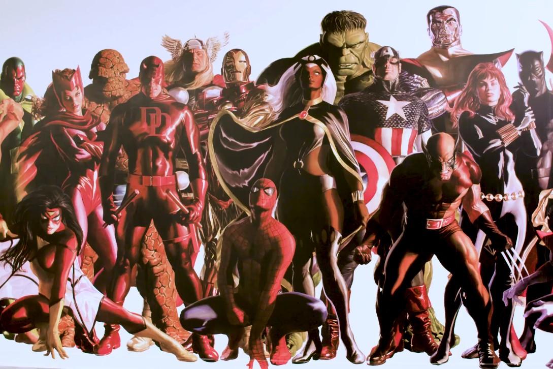 Находка: художник Алекс Росс рисует огромную картину сгероями Marvel