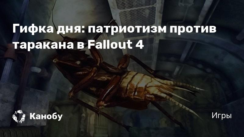 Гифка дня: патриотизм против таракана в Fallout 4