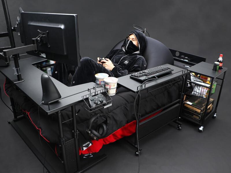 Ешь, пей, играй. Японцы выпустили геймерскую кровать иэто рай для гика