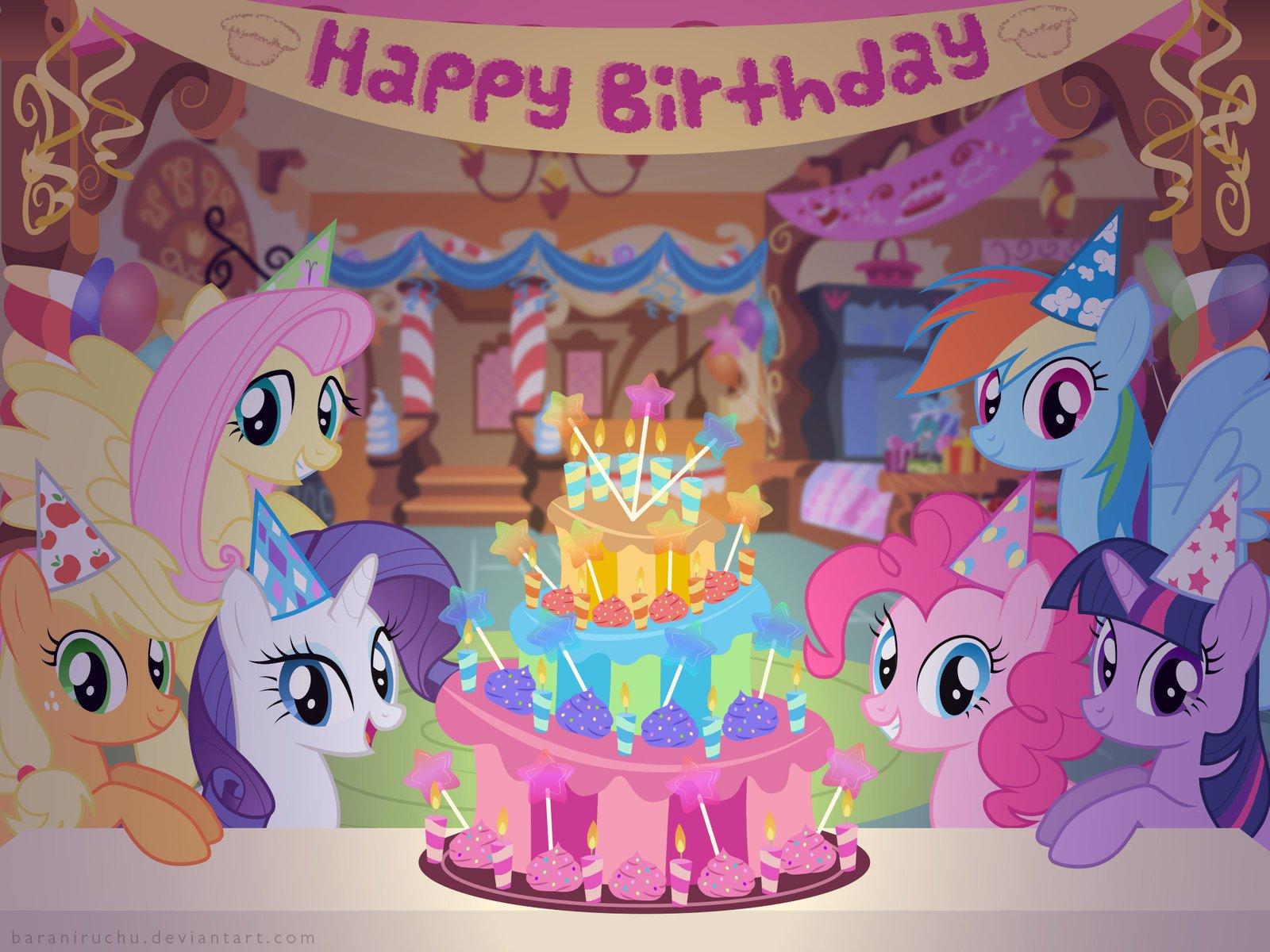 Открытка с днем рождения литл пони, нарисованными