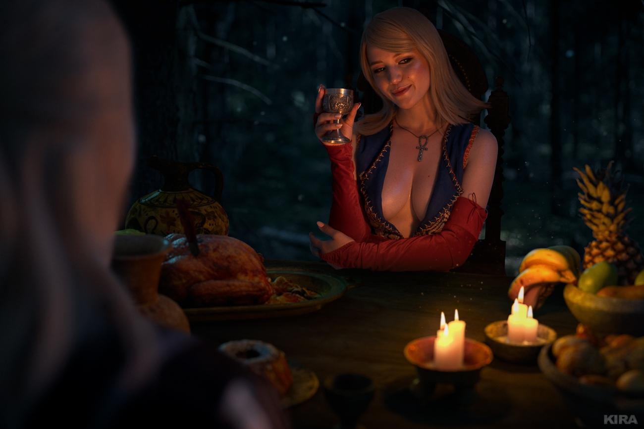 Геральт и Кейра Мец за романтическим ужином в новом косплей-фотосете