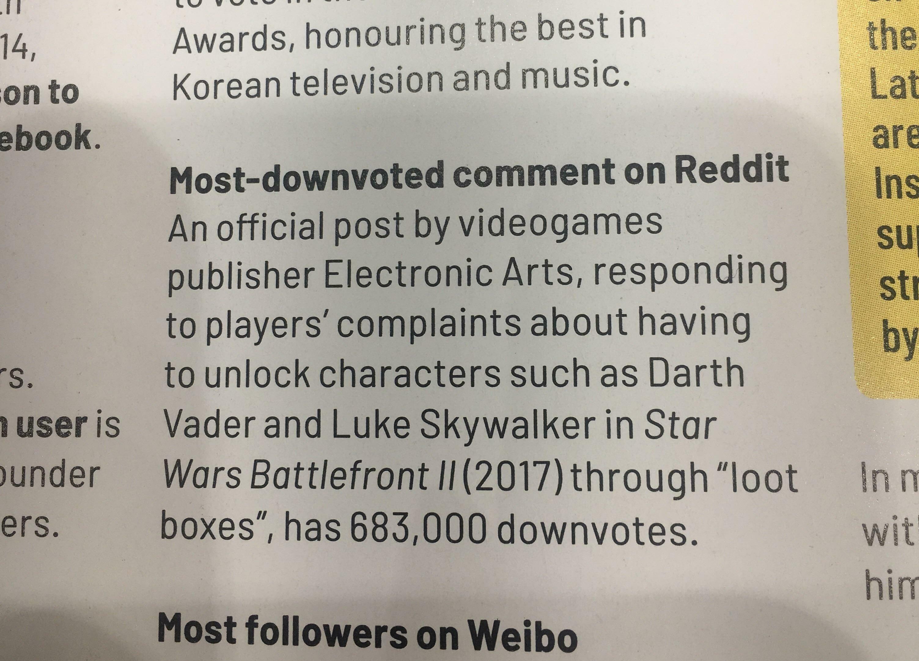 EAоставила самый непопулярный комментарий наReddit ипопала в«Книгу рекордов Гиннесса»