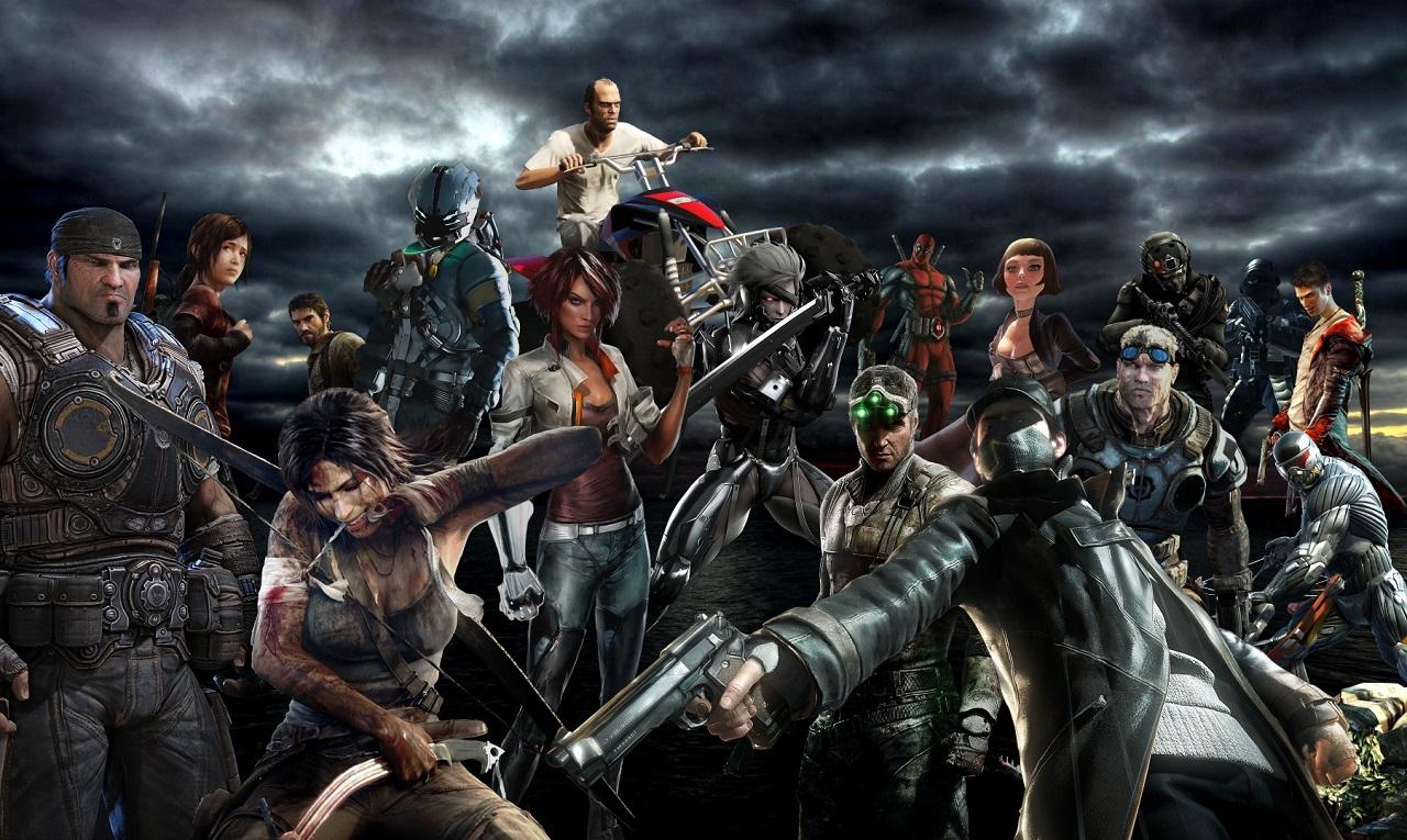 полупрозрачной картинки с персонажами разных игр современном