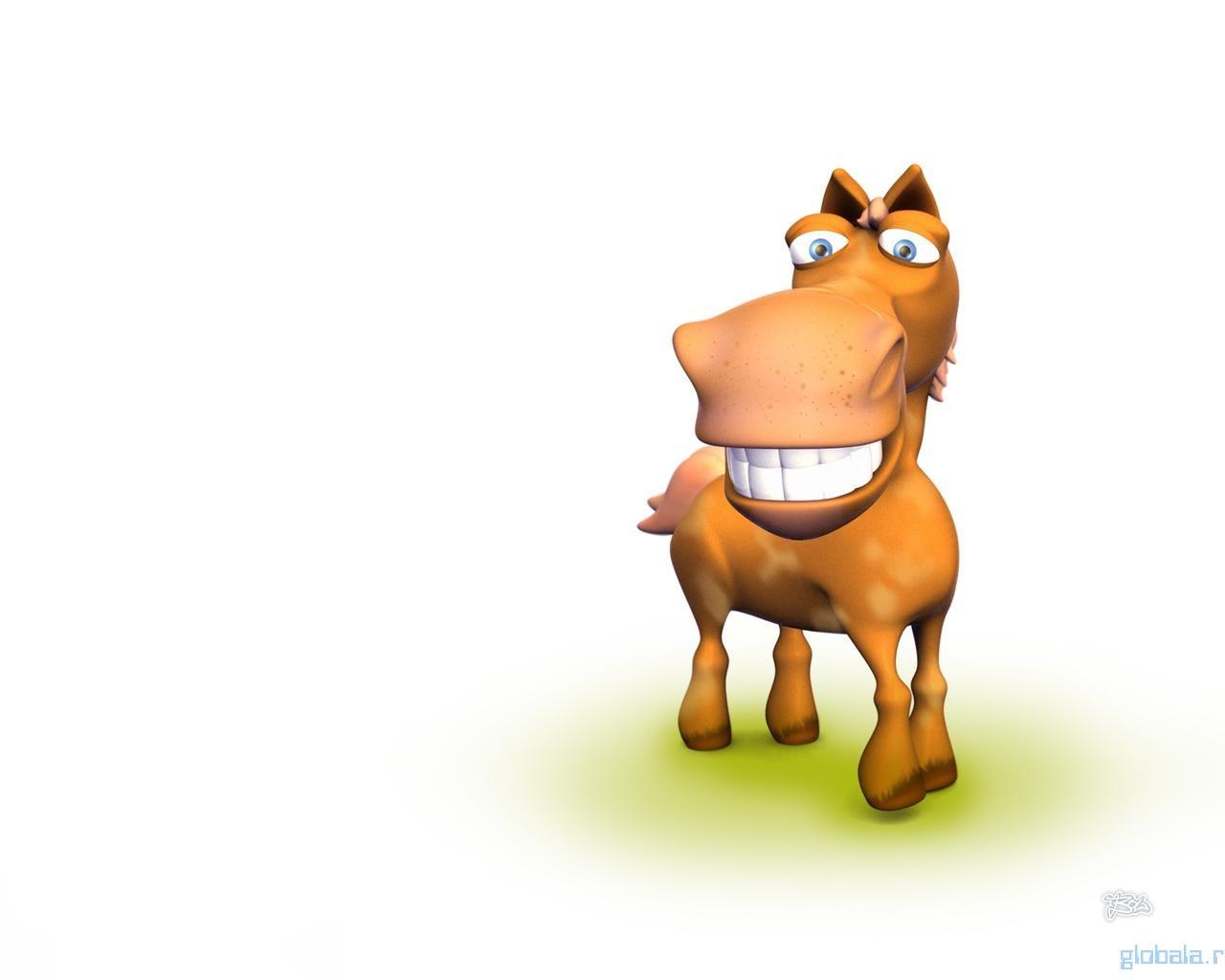 Приколы, рисунок смешная лошадь