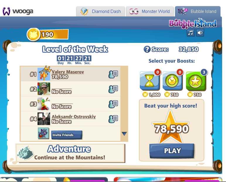 Вот играю в Bubble Island от Wooga на недельный рейтинг. Не покупая бонусы набрал 78590 очков. Купил один бонус - на .... - Изображение 1