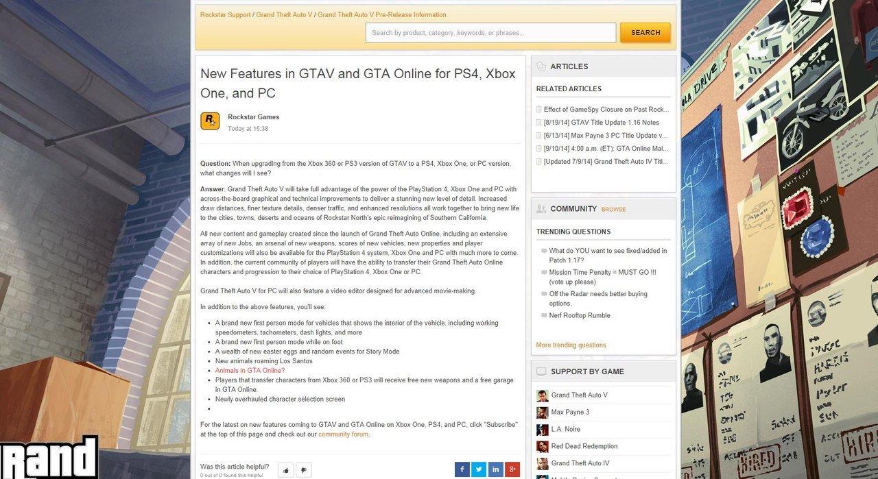 Rockstar случайно опубликовали на своей странице техподдержки небольшой список нововведений некстген-версии GTA V, .... - Изображение 1
