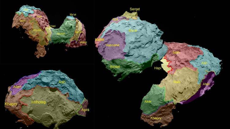 Ученые картографировали поверхность ядра кометы Чурюмова-Герасименко. - Изображение 1