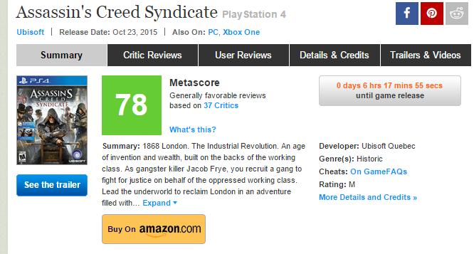 Оценки Assain`s Creed Sydicate! Не провал или мифическое занесли ?. - Изображение 1
