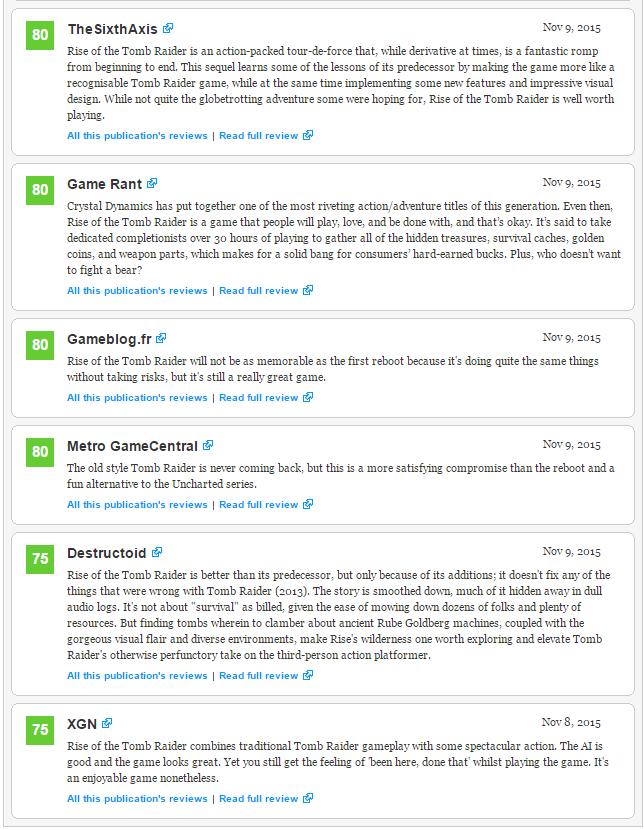 Первые оценки Rise of the Tomb Raider. - Изображение 4