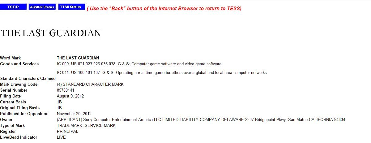 Sony всё же продлевает права на торговую марку The Last Guardian. - Изображение 2