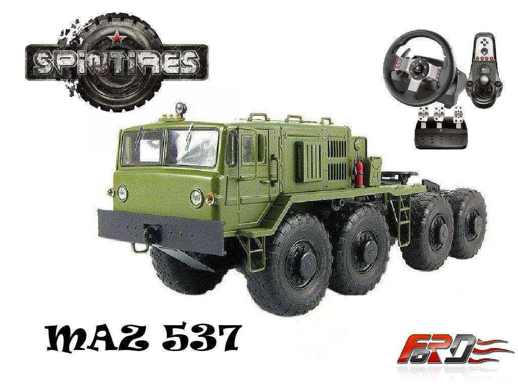 [ SpinTires 2015 ] обзор, тест-драйв МАЗ 537 (MAZ 537) советские грузовики тягачи Logitech G27 . - Изображение 1