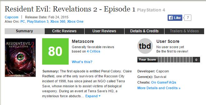 Оценки Resident Evil: Revelations 2. - Изображение 1
