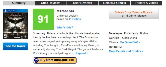 Первые оценки  Batman: Arkham Knight (91). - Изображение 1