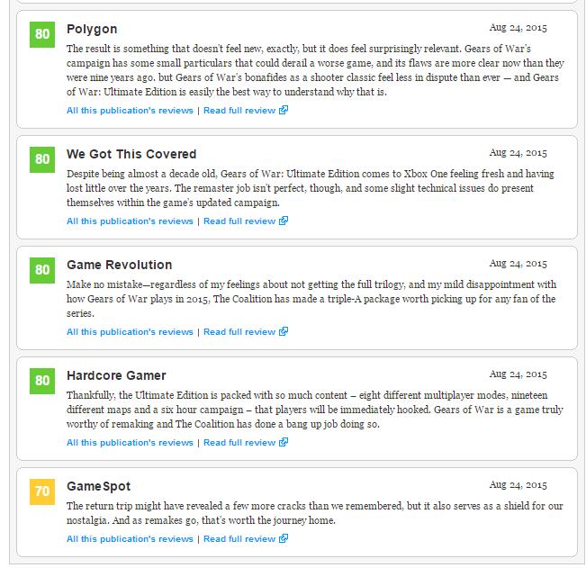 Оценки Gears of War: Ultimate Edition. - Изображение 4