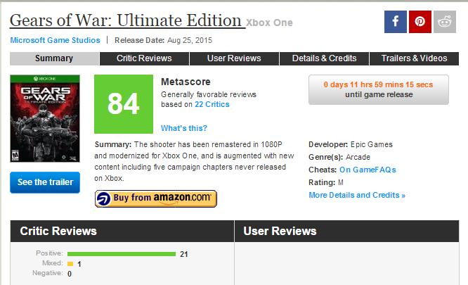 Оценки Gears of War: Ultimate Edition. - Изображение 1