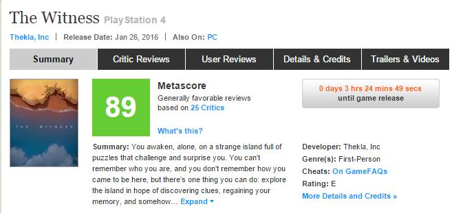 Джонатон Блоу снова смог! Оценки The Witness, консольного экза PS4!. - Изображение 1