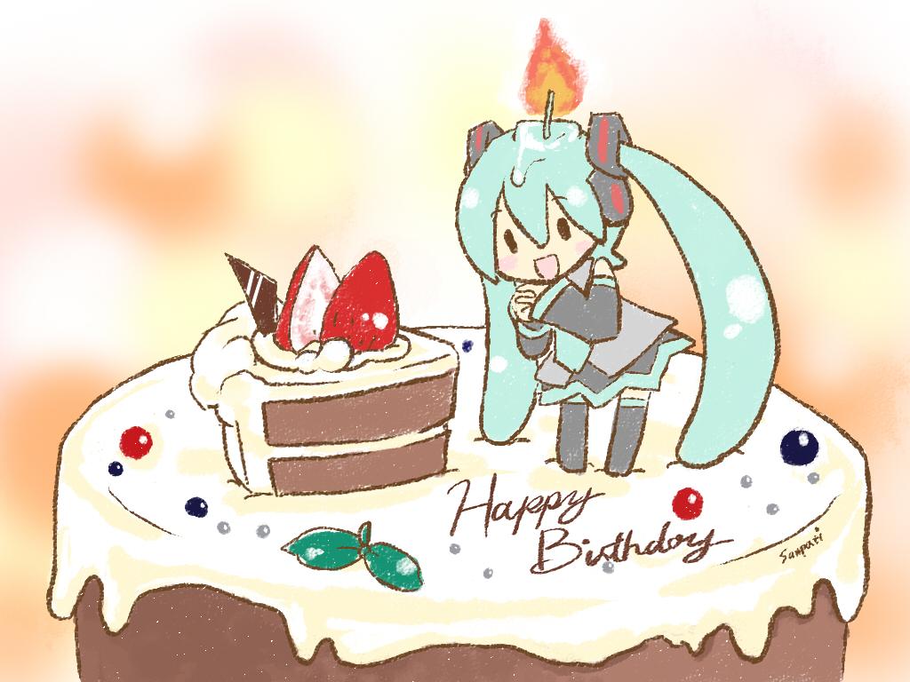 С днем рождения открытка для женщины аниме