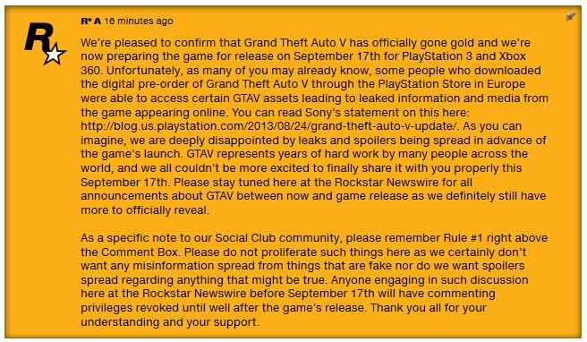 Представители Rockstar Games прокомментировали ситуацию с утечкой файлов игры.. - Изображение 1