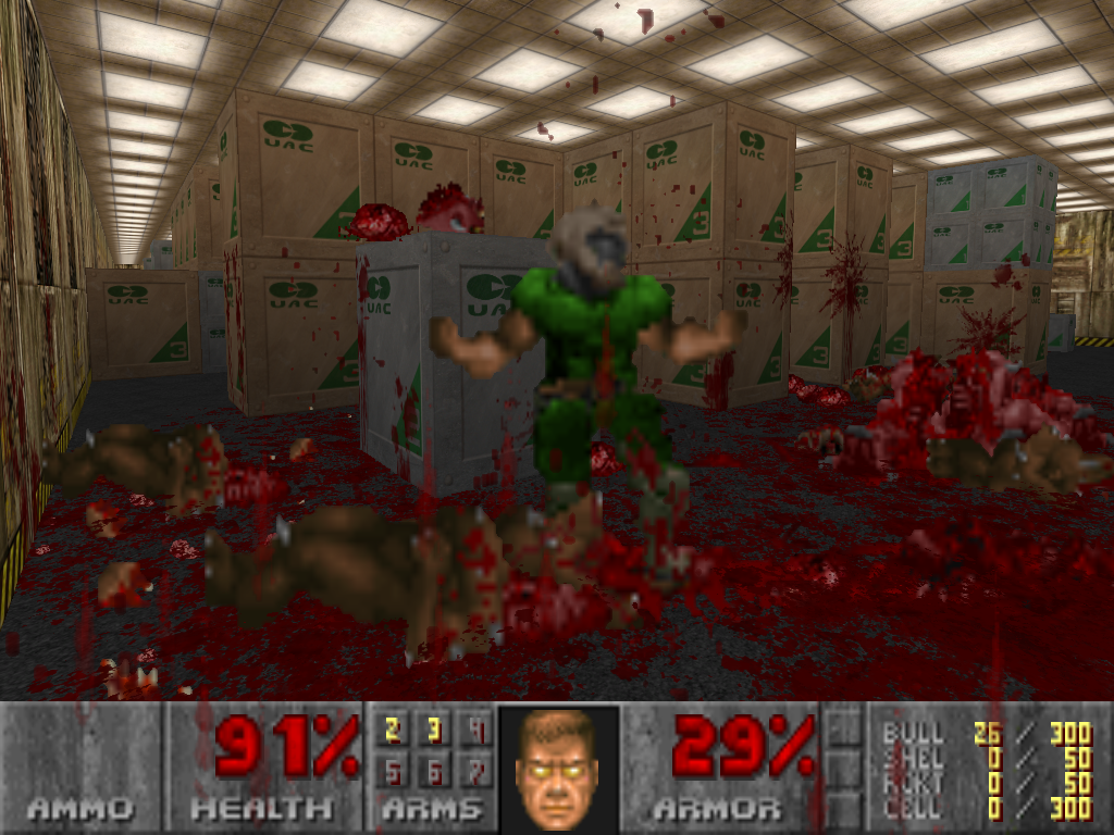 О господи! Brutal Doom - 10/10Только заметил, что на ящике лежит мертвый пони :D. - Изображение 1